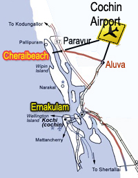 Kuzhupilly map and Pallipuram map, Munambam map,cherai road map,paravur aluva road map,cochin airport cherai road map